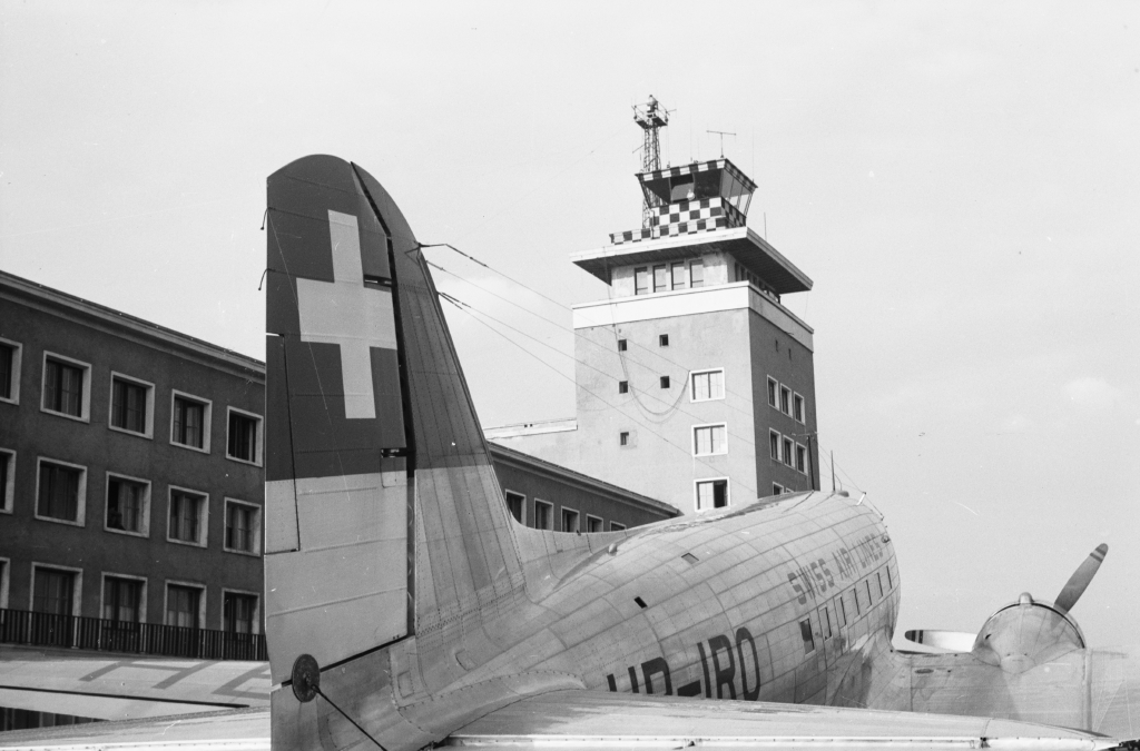 Picture: Swissair DC-3 and control tower