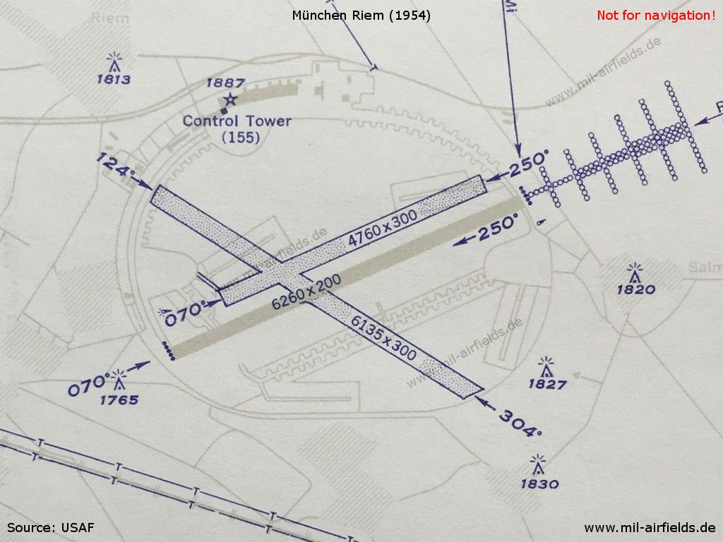 Munich riem airport military airfield directory chart of munich riem airport in 1954 ccuart Image collections