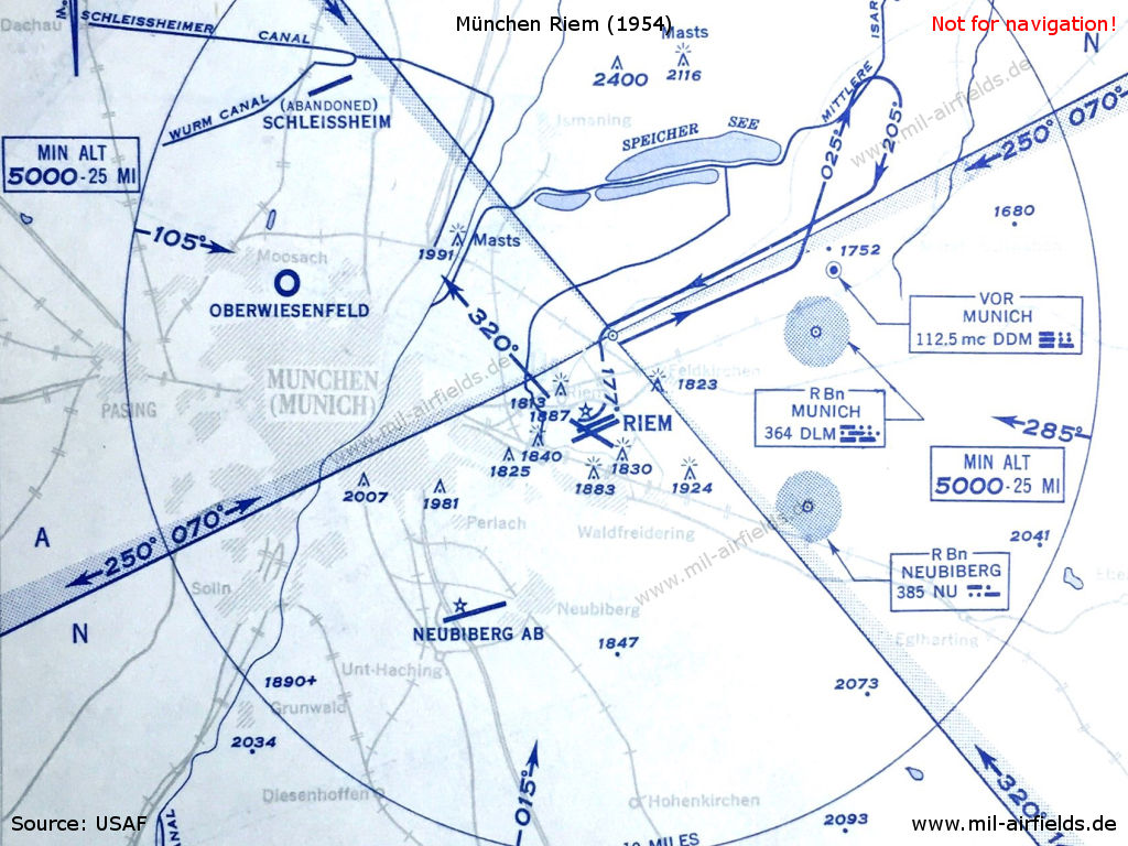 Munich riem airport military airfield directory map of airspace in the munich area from 1954 ccuart Image collections