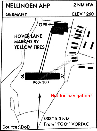 Nellingen helipad on a map from 1976