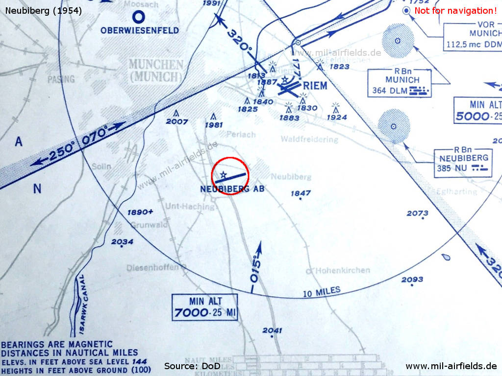 Neubiberg airfield military airfield directory map of munich airspace with neubiberg airfield in 1954 ccuart Images