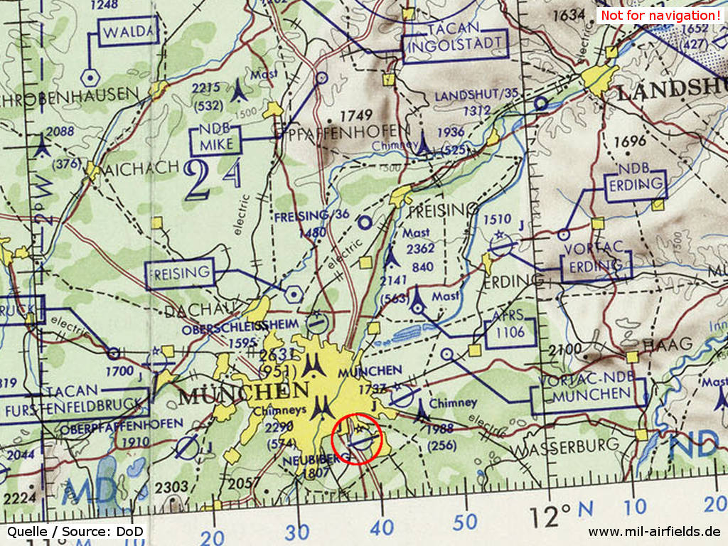 Map of airfields in the Munich region with Neubiberg 1972