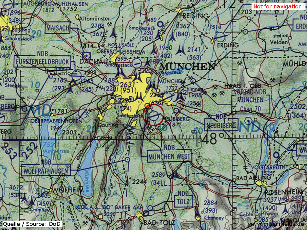 Map of Munich airfields 1981