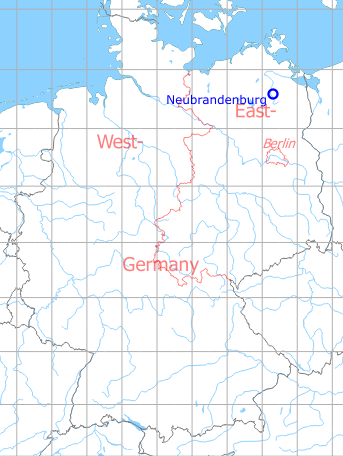 Map with location of Neubrandenburg Air Base, Germany