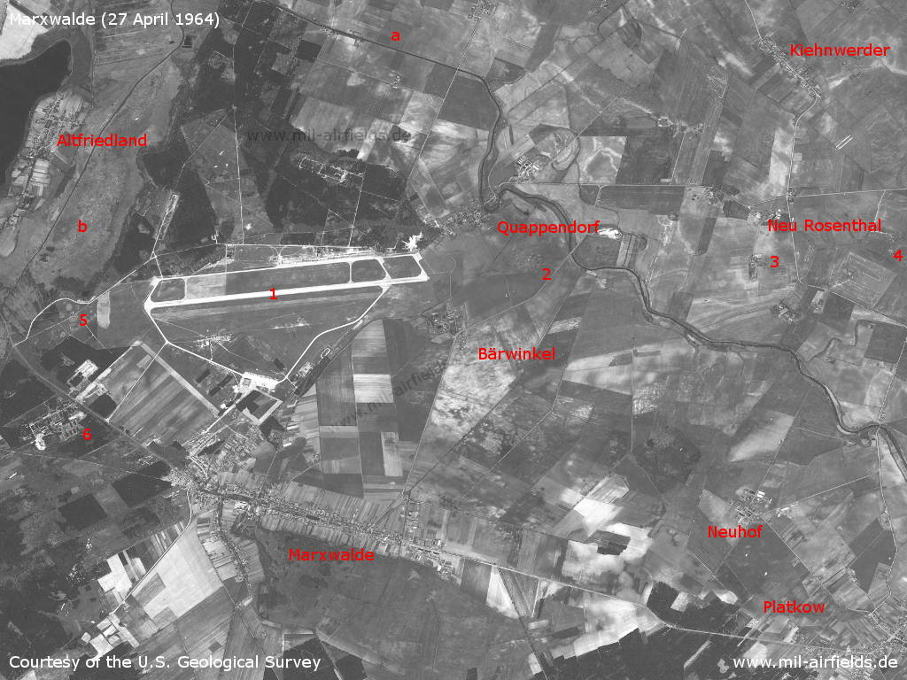 Marxwalde, GDR, on a satellite image 1964