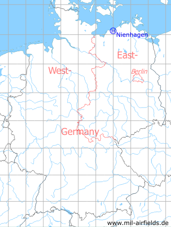 Map with location of Nienhagen Anti-aircraft Missile Unit 4332, East Germany