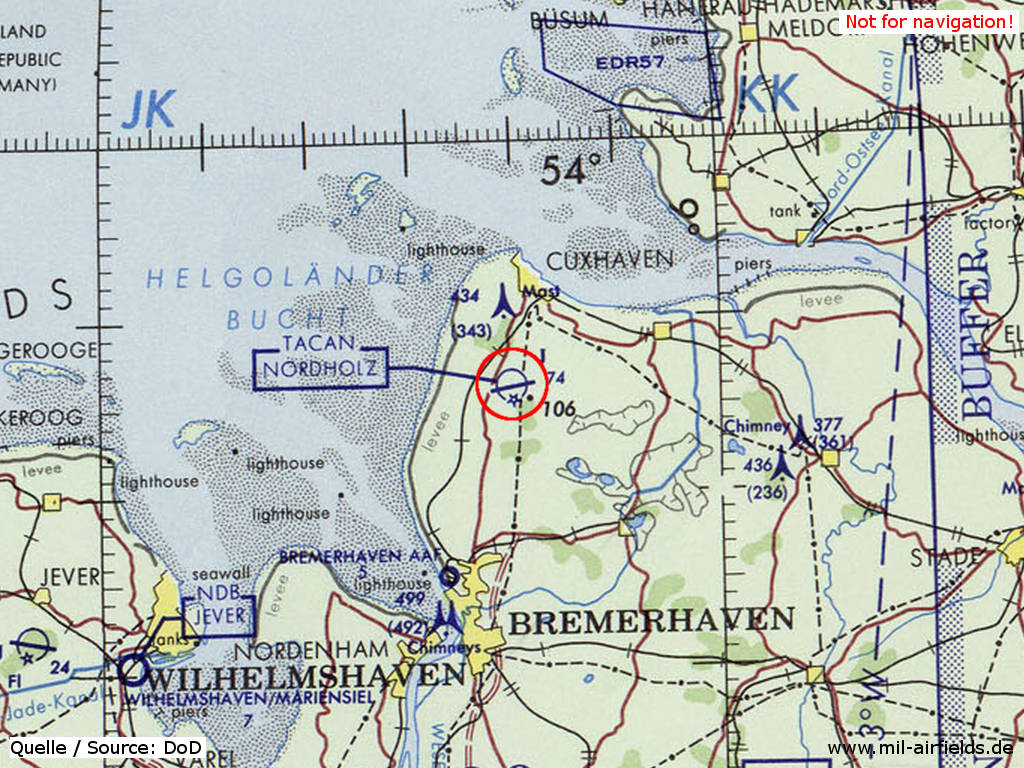 Nordholz Naval Air Base on a map 1972