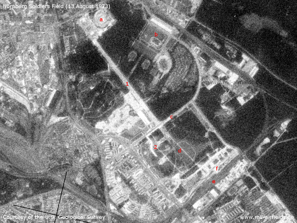 Nürnberg Soldiers Field Army Airfield, Germany, on a US satellite image 1973