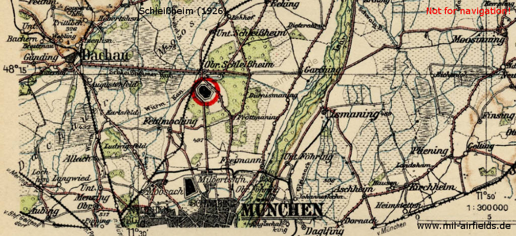 Map with location of Schleissheim airfield, ca. 1926