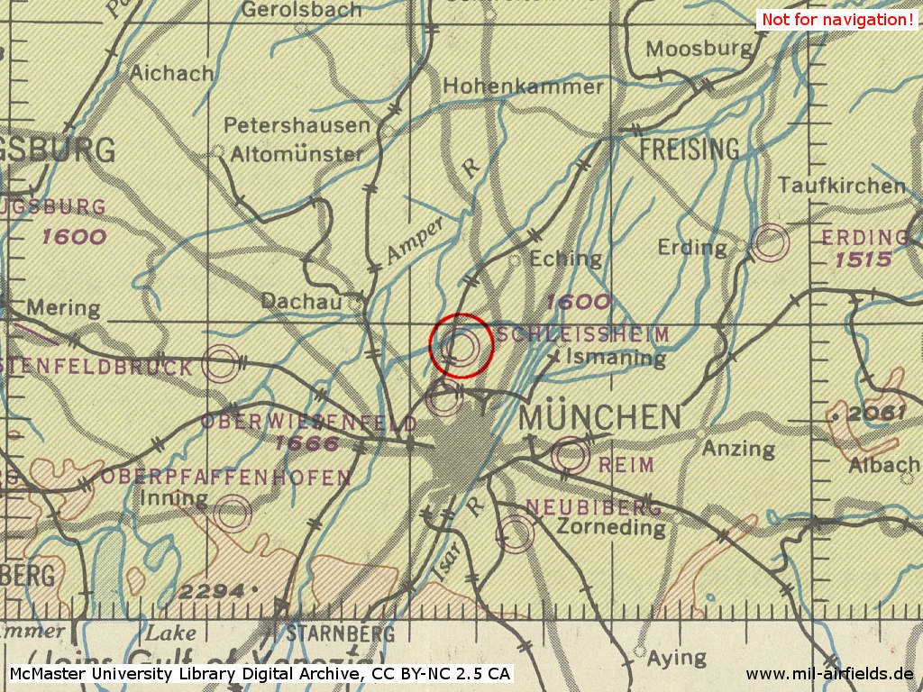 Map of airfields in the Munich area in 1944