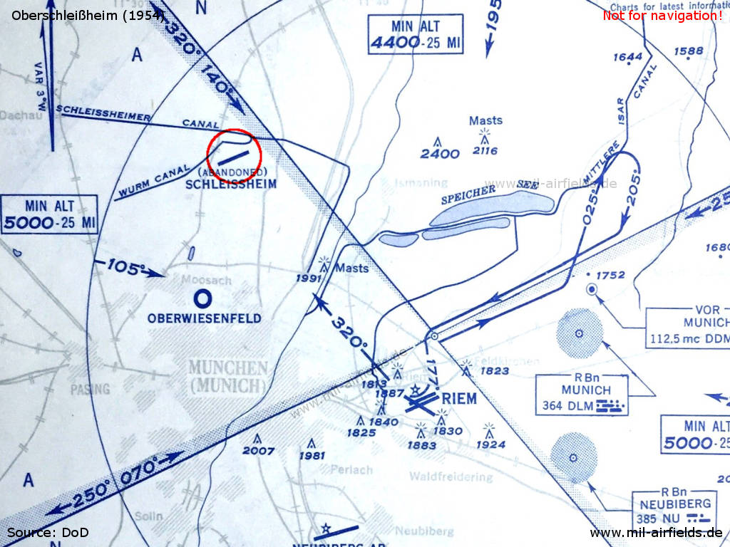 Map of airspace in Munich area with the abandoned Schleissheim airfield 1954