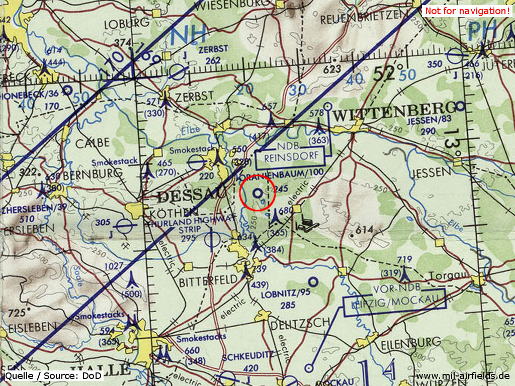 Oranienbaum auxiliary airfield, GDR, on a US map 1972