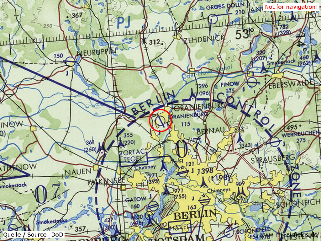Oranienburg Air Base on a map of the US Department of Defense from 1972
