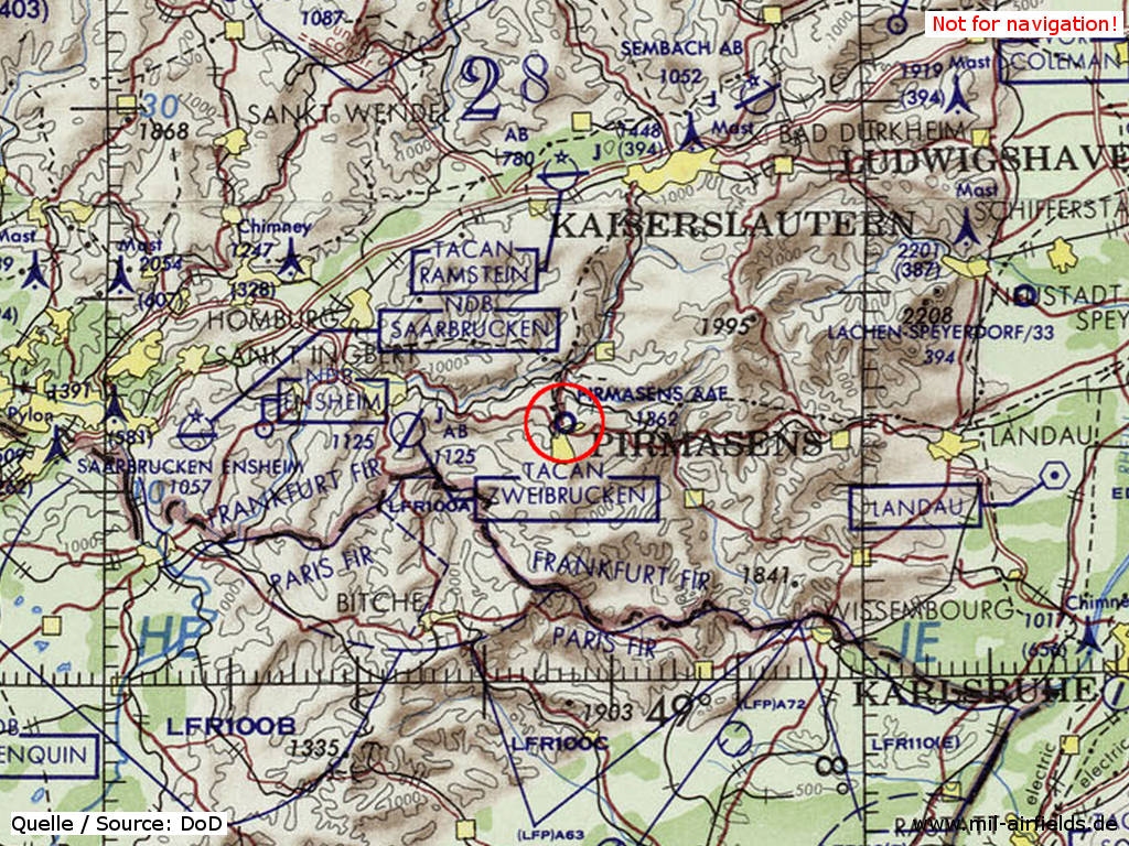 Pirmasens Army Airfield AAF on a US map 1972
