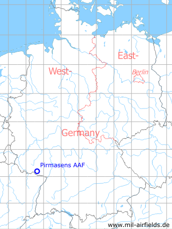 Map with location of Pirmasens US Army Airfield, Germany