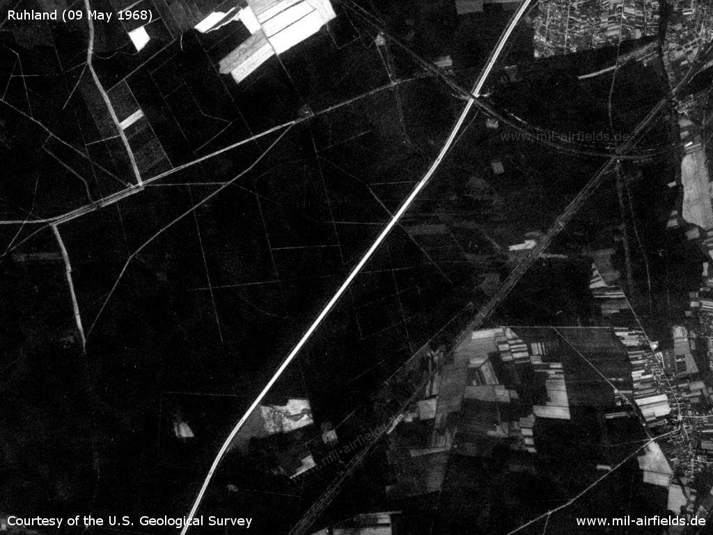 Ruhland Highway Strip, East Germany, on a US satellite image 1968
