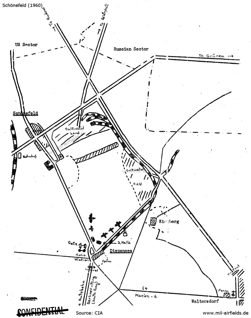 Sketch of the airfield from 1947