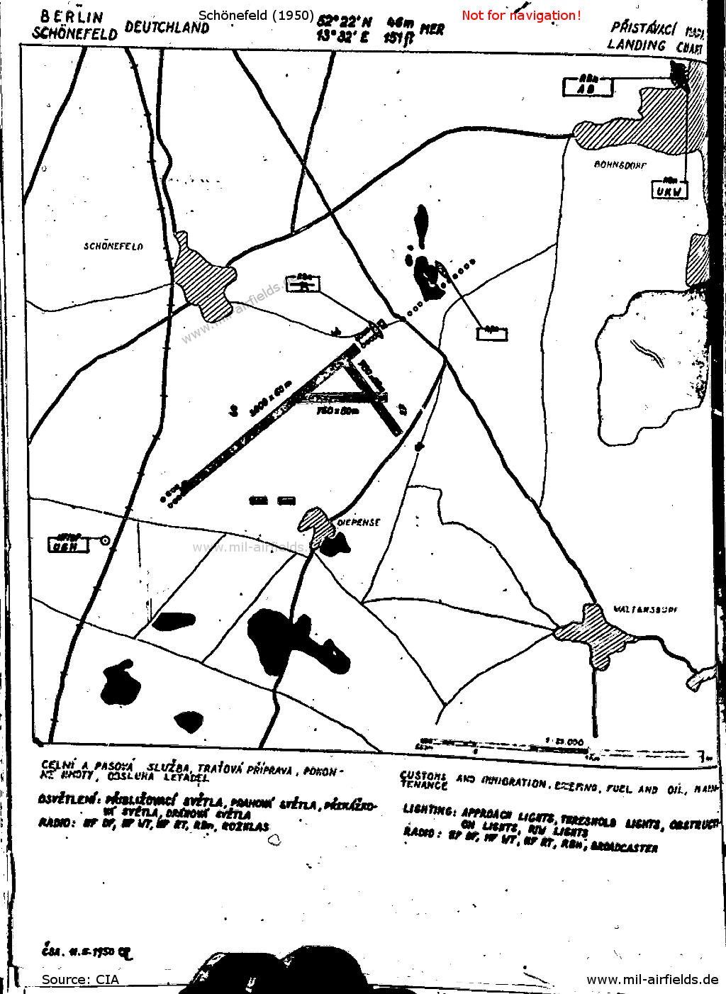 Map of Schönefeld airport from the Czechoslovak aeronautical publication from 1950