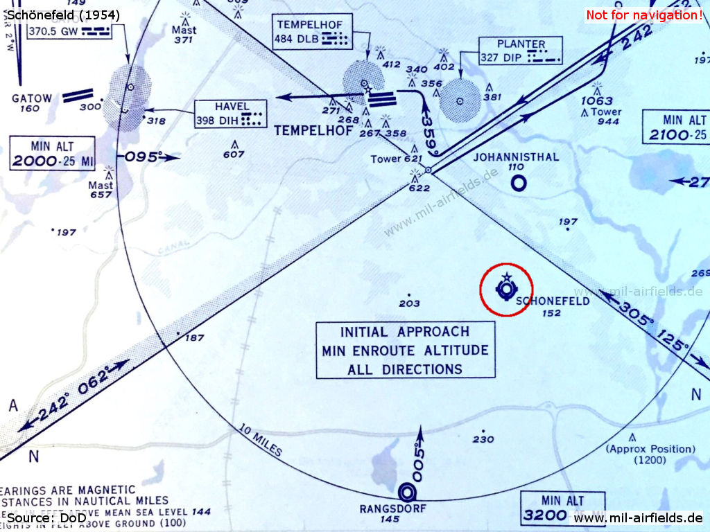Schönefeld Airport on a US Air Force map from 1954
