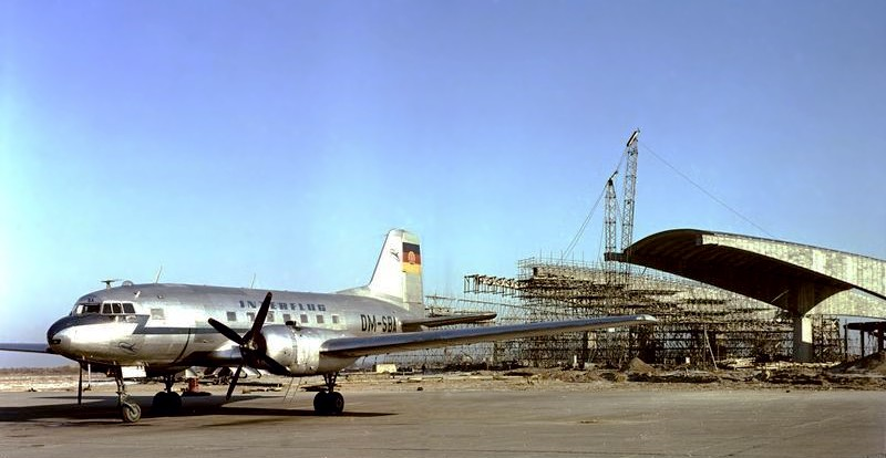 Interflug Il-14 DM-SBA Schoenefeld Airport January 1961. Hangar under construction.