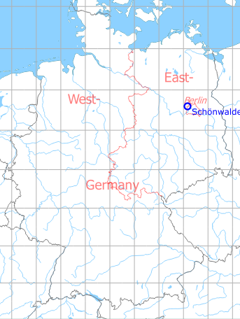Map with location of Schönwalde Airfield, Germany