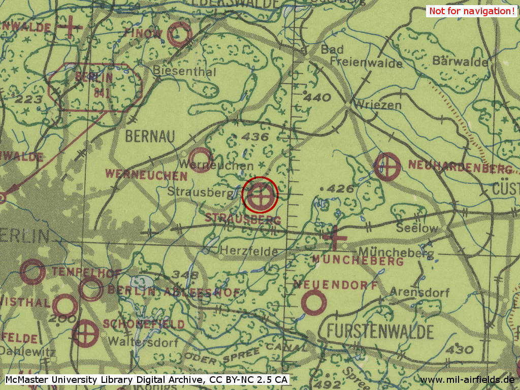 Strausberg Air Base, Germany, on a map 1943