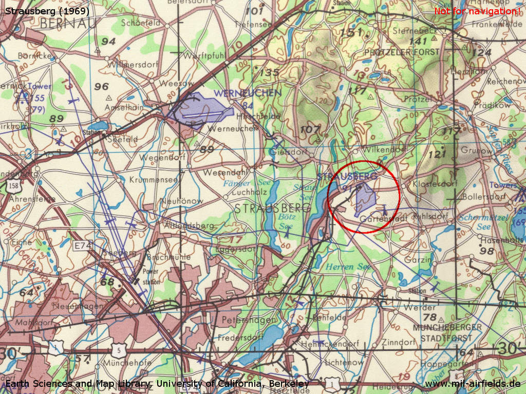 Strausberg Airfield on a map 1969