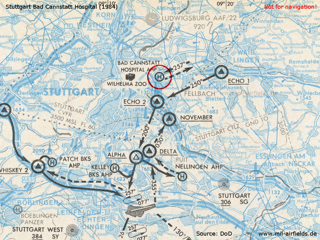 Map with visual approach to the Stuttgart Bad Cannstatt (Germany) military hospital 1984