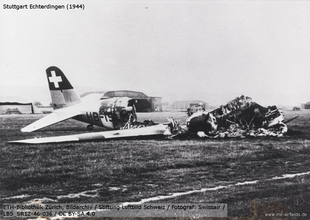 Swissair DC-2 HB-ISI destroyed in Stuttgart Echterdingen 1944