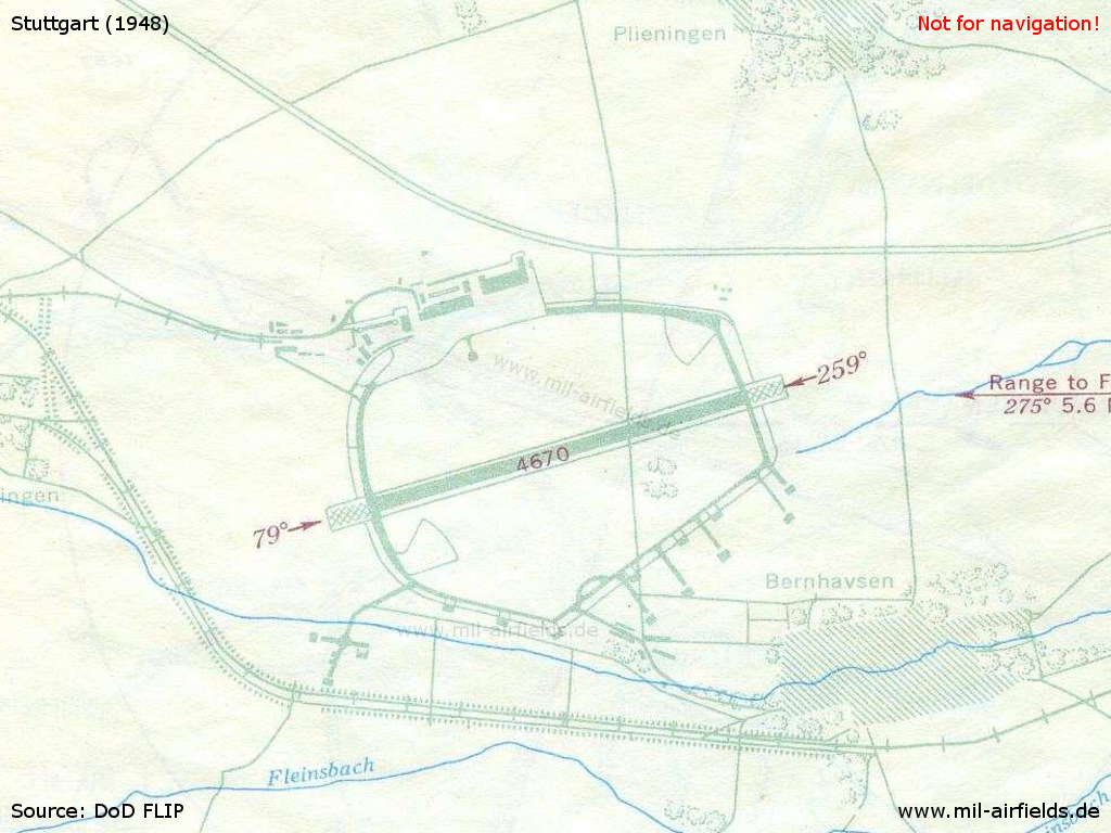 Stuttgart airfield map from 1948