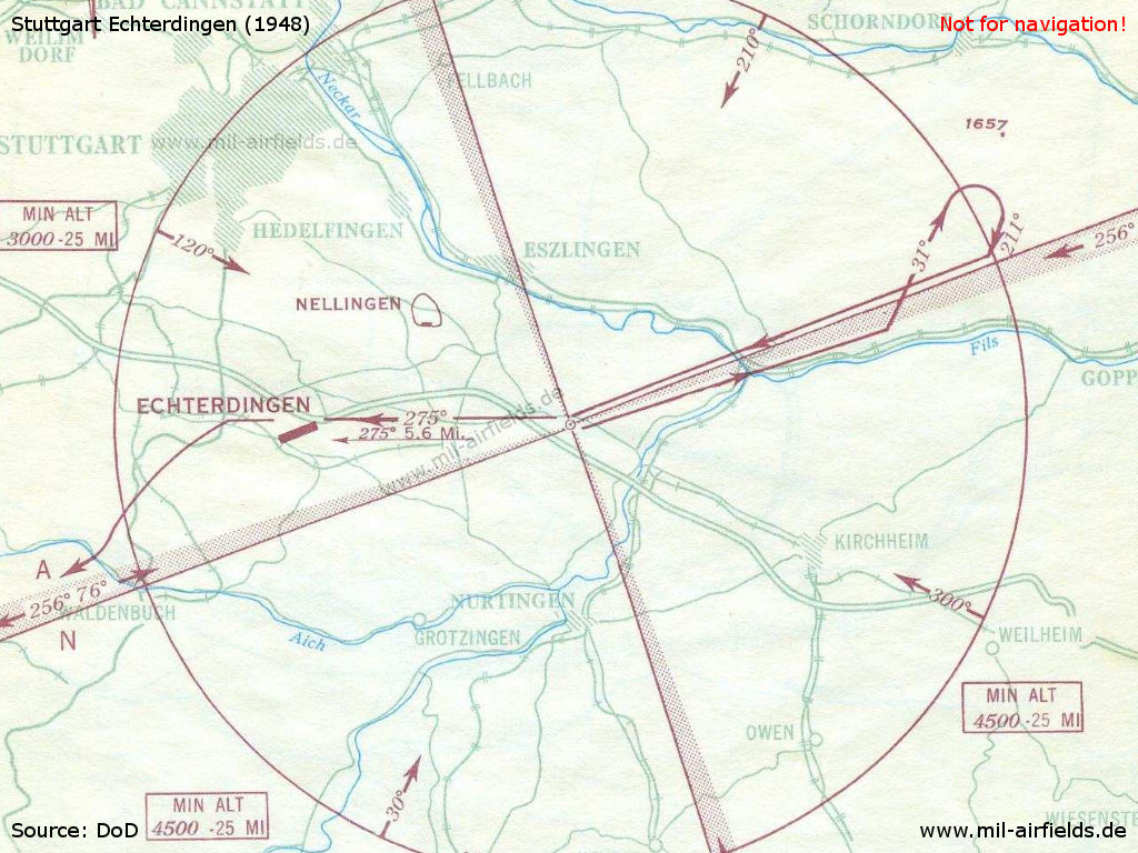 Approach chart Stuttgart Echterdingen airfield from August 1948