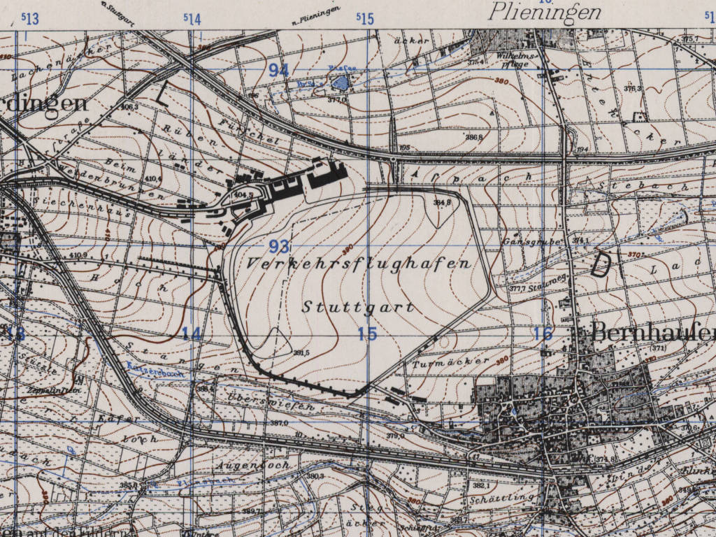 Stuttgart Airport Map 1951