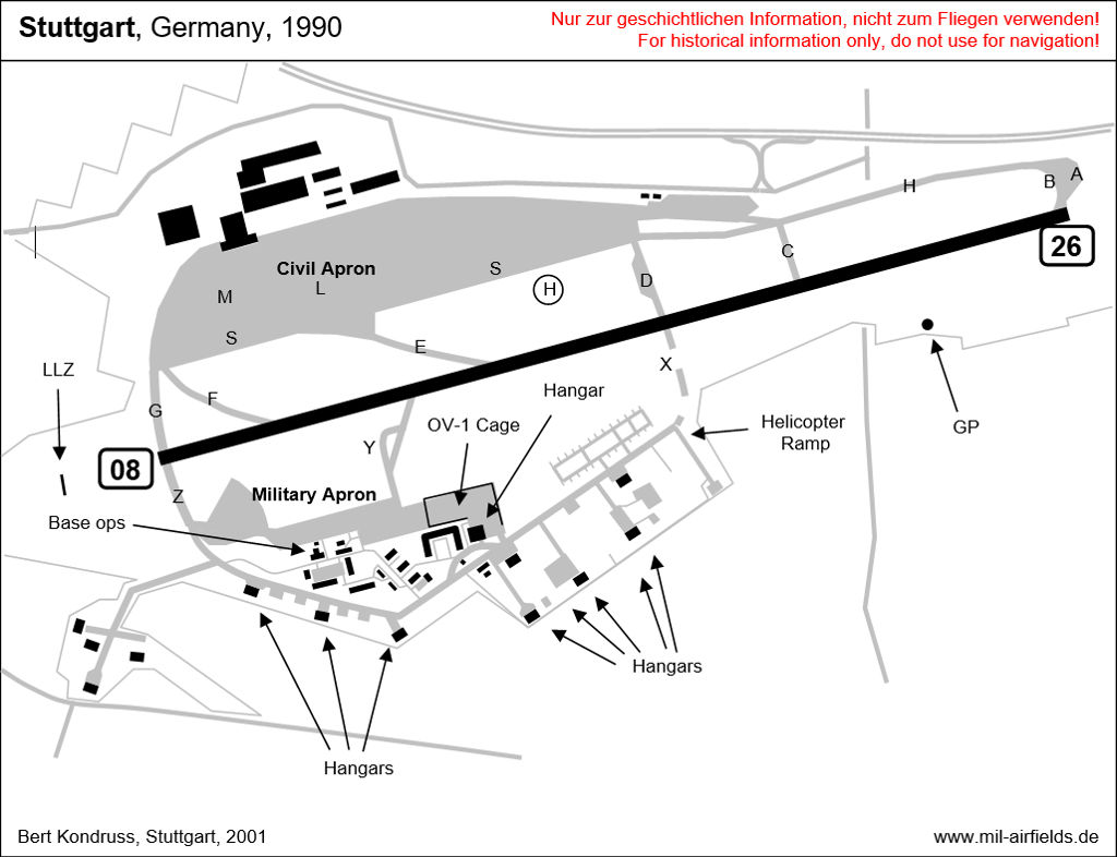 Map of Stuttgart Echterdingen Airport / Army Airfield in 1990