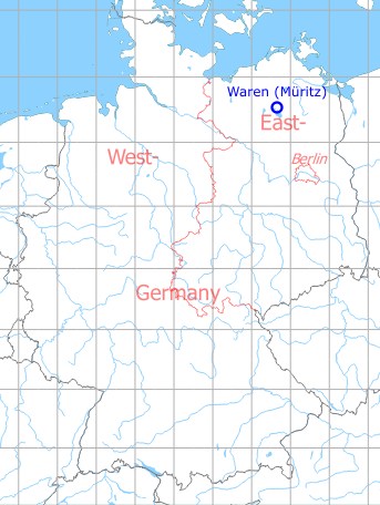 Map with location of Waren (Müritz) Vielist Airfield, Germany