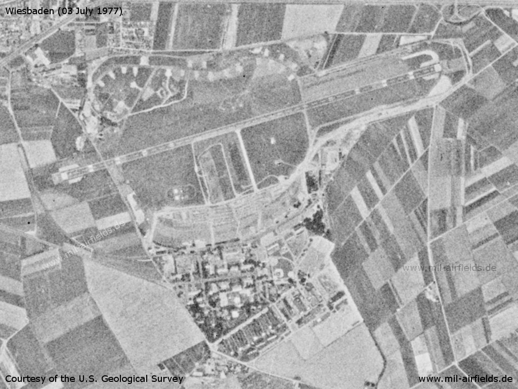 Wiesbaden Air Base, Army Airfield, Germany, on a US satellite image 1977