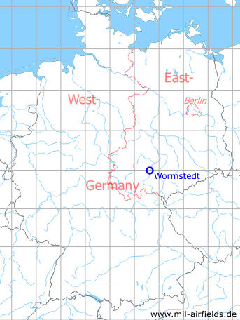 Map with location of Wormstedt Airfield, Germany