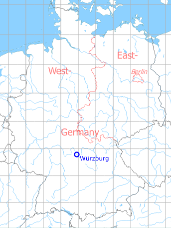 Map with location of Würzburg Emery Army Airfield, Germany