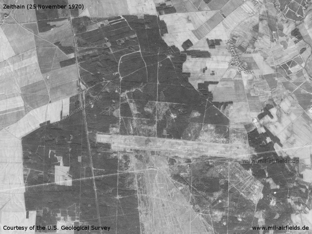 Zeithain Airfield, Germany, on a satellite image 1970
