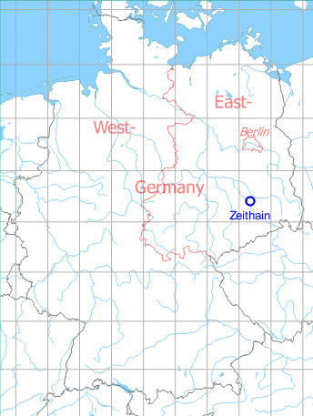 Map with location of the Soviet airfield at Zeithain, Germany