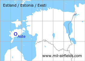 Map with location of Aste Airfield
