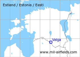Map with location of Valga Airfield