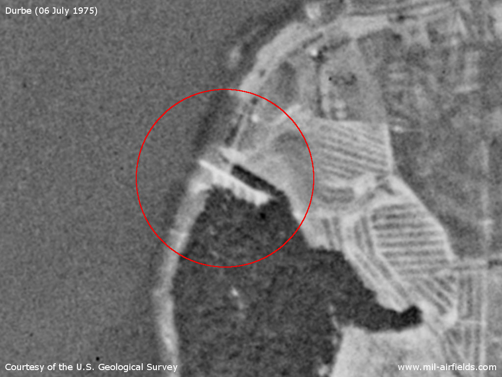 Durbe seaplane station, Latvia, on a US satellite image from 1975