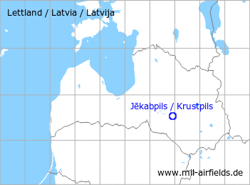 Map with location of Jakabpils / Krustpils air base