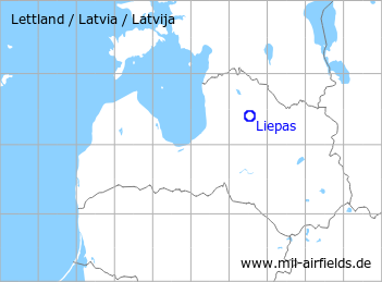 Map with location of Liepas Airfield