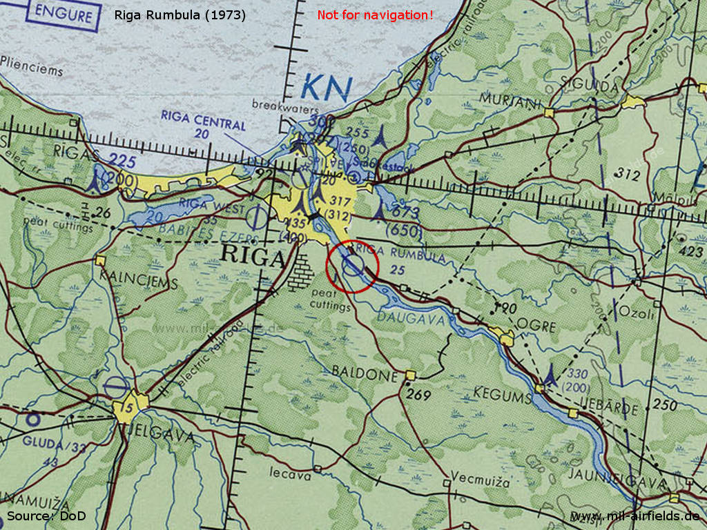 Riga Rumbula Airfield, Lativa, on a map 1973