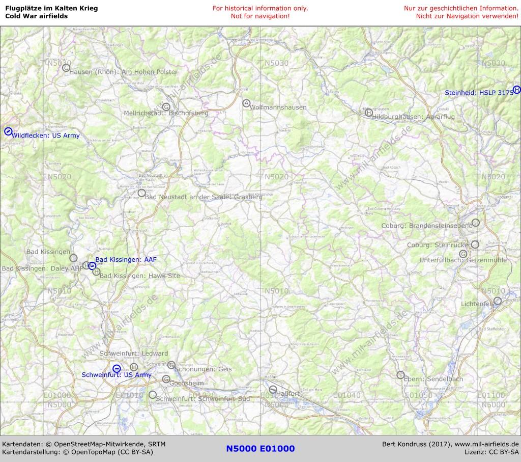 Unterfranken Karte.Flugplätze In Der Region Unterfranken Military Airfield Directory