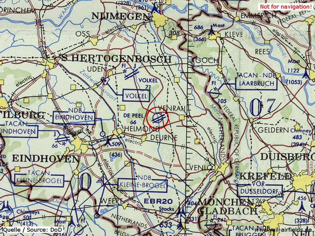Venray / De Peel Air Base, Netherlands, on a map 1972