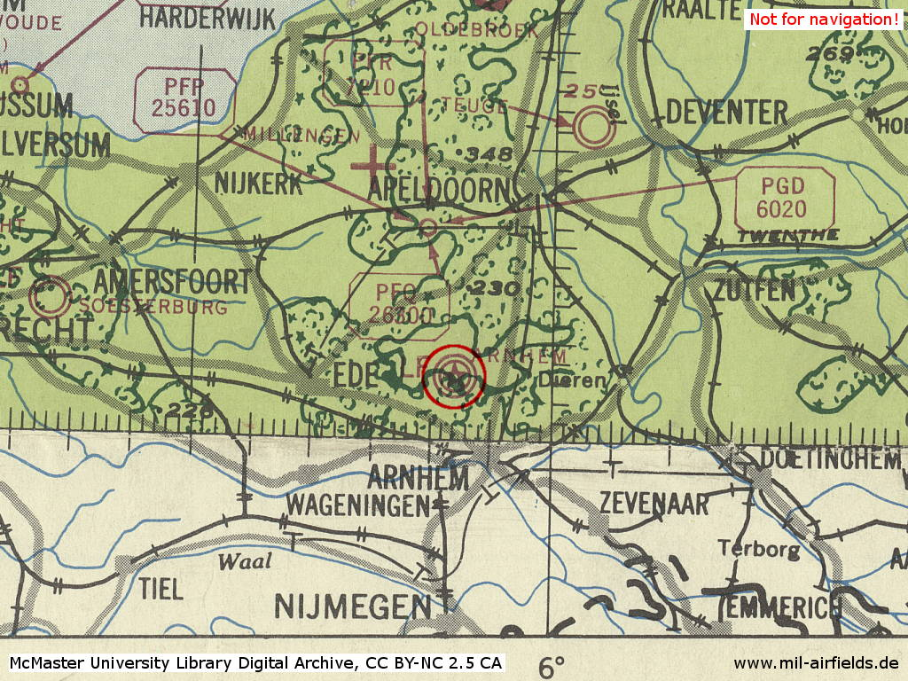 Deelen Air Base, Nehterlands, on a map 1943