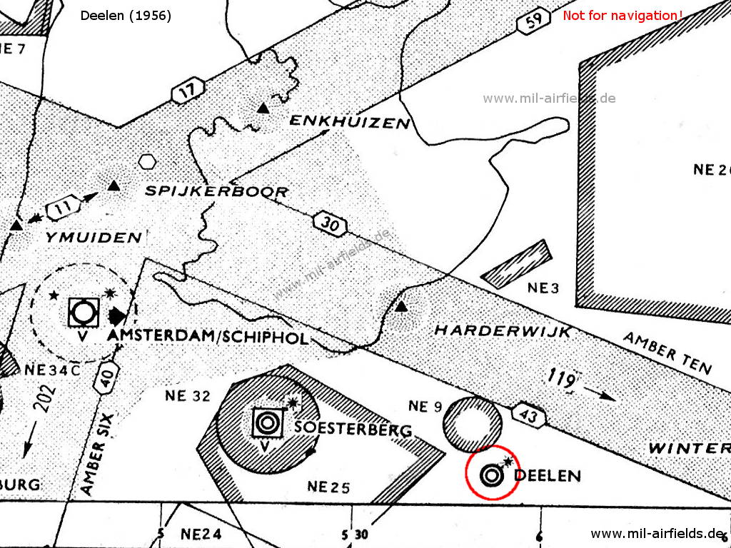 Deelen airfield and surrounding airways and restricted areas on a map 1956