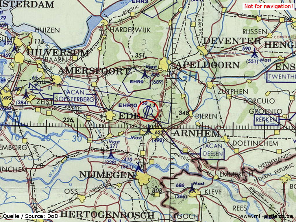 Deelen Air Base, Netherlands, on a map 1972